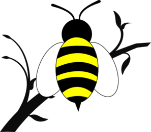 Honey Bee Over Branch Clip Art