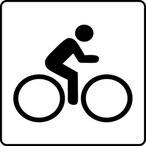 Hotel Icon Near Bike Route Clip Art