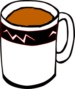 Tea Mug In White, Black And Red Clip Art