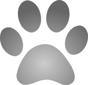 Grey Paw Print With Gradient Clip Art