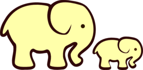 Yellow Elephant Mom & Baby Clip Art