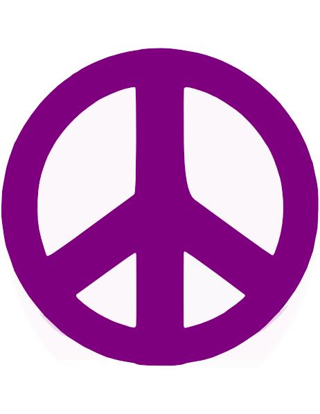 Purple Peace Sign Clip...
