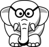Line Art Elephant In Glasses Clip Art