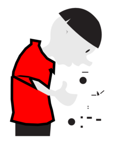 Scientist At Microscope In Red Shirt Clip Art