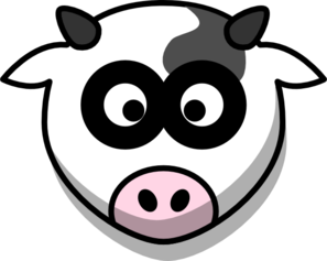 Cow Head With Shadow Clip Art