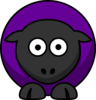 Sheep - #660198 Purple On Black  Clip Art