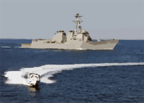 The Arleigh Burke-class Guided Missile Destroyer Uss Roosevelt (ddg 80) And A Small Boat Participate In A Simulated Small Boat Attack Exercise (swarmex) Clip Art