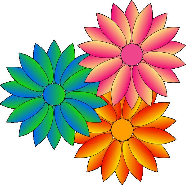 Multi Coloured Daisies Clip Art at Clker.com - vector clip ...