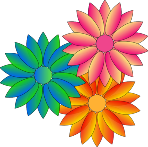 Colorful Daisies Flowers Clip Art