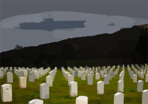 The Decommissioned  Constellation (cv 64) Is Towed Past Fort Rosecrans National Cemetery In Point Loma, Calif. Clip Art