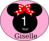 Pink Bow Giselle First Year Clip Art