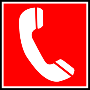 White Telephone With Red Background Clip Art