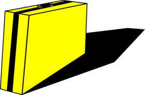 Yellow Briefcase With Black Shadow Clip Art