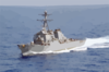 The Guided Missile Destroyer Uss The Sullivans, Part Of The Kennedy Battlegroup, Transits The Mediterranean Sea. Clip Art