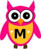 Owl Letter M Pink And Yellow Clip Art