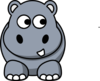 Hippo Looking Right Clip Art