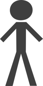 Stick Figure - Dark Grey Clip Art