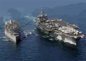 The Guided Missile Cruiser Uss Gettysburg (cg-64) And Nuclear Powered Aircraft Carrier Uss Enterprise Clip Art