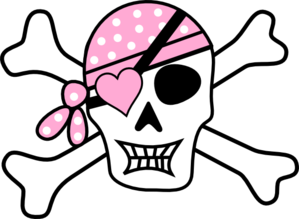 Pastel Pink Pirate Cross Bones Clip Art