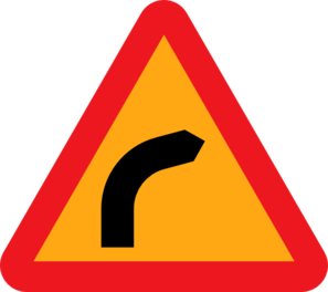 Dangerous Bend, Bend To Right. Clip Art