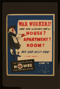War Workers! Are You Looking For A - House? Apartment? Room? We Can Help You Clip Art