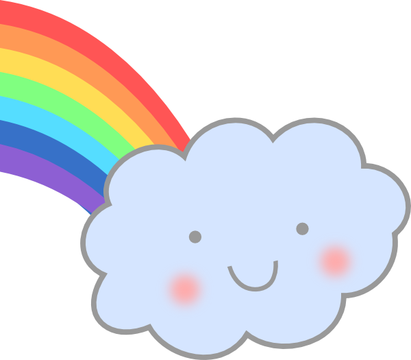 Cute Cloud With Rainbo...