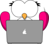 Pink Bird With Laptop Clip Art