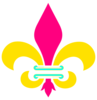 Fleur De Lis Gold Pink And Teal Clip Art