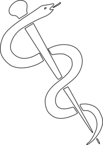 Rod Of Asclepius Outline Clip Art