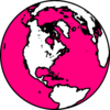 Pink And White Globe Clip Art