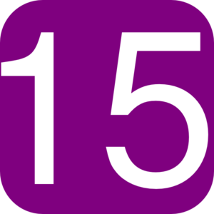 Purple, Rounded, Square With Number 15 Clip Art