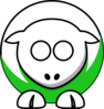 Sheep - White On Green No Eyeballs Only Sockets Clip Art