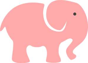 Grey Elephant Mom & Baby/pink Clip Art