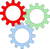 Tri-color Gears With Outline Clip Art