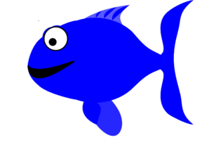 Blue Happy Fish Clip Art