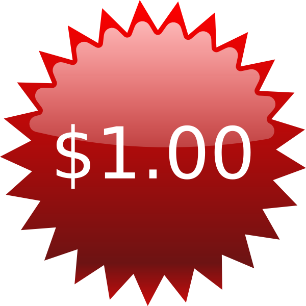 Clip Art  1 Red Star Price Tag $1