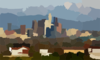 Los Angeles Skyline Telephoto Clip Art