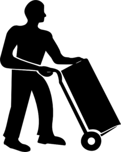 Worker Moving Trolley Clip Art