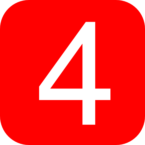 Clipart Red Rounded Square With Number 4
