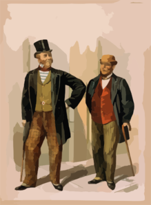[two Well Dressed Men With Canes, Standing On Sidewalk Outside Saloon] Clip Art