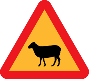 Warning Sheep Roadsign Clip Art
