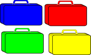Colorful Suitcases Clip Art