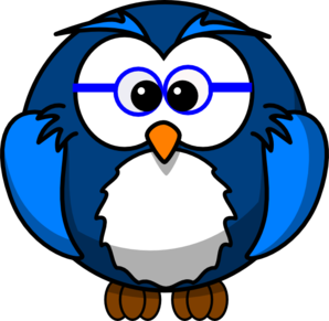 Blue Owl With Glasses Clip Art