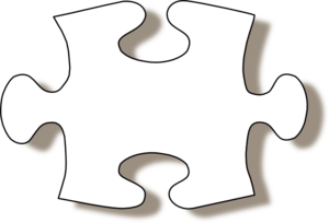 Jigsaw White Puzzle Piece W/ Shadow Clip Art