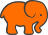 Orange Gray Elephant Clip Art