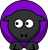 Sheep Looking Left Purple  Clip Art