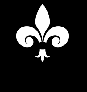 Fleur-de-lis White On Black Clip Art