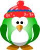 Green Penguin With Hat Clip Art