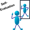 Blue Stick Man Self Evaluation Clip Art