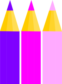 3 Colored Pencils Clip Art
